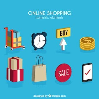 Verzameling van isometrische online winkelartikelen