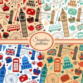 Verzameling van naadloze patronen met Londense landmarks en Groot-Brittannië symbolen vectorillustratie