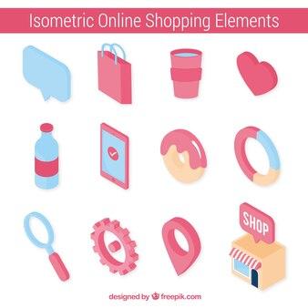 Verzameling van online winkelelementen in isometrische stijl