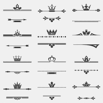 Verzameling van twaalf vector vintage frames met kronen voor het ontwerp