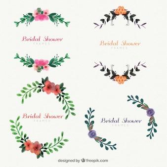 Verzameling van vier bloemen huwelijk frames in aquarel stijl