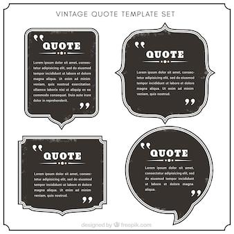 Verzameling van vintage citaat sjablonen met zwarte achtergrond
