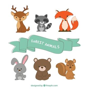 Verzameling van zes dieren in het bos