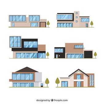 Verzameling van zes moderne huizen in plat design