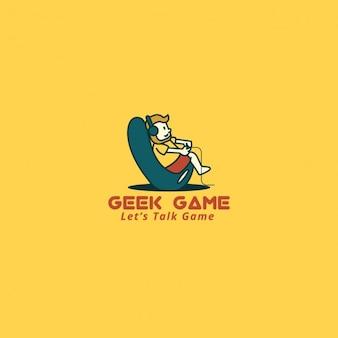 Video game logo op een gele achtergrond