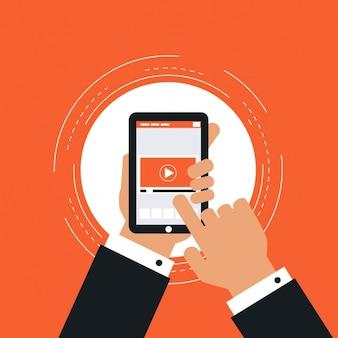 Video-speler in een mobiele telefoon design
