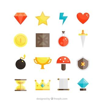 Videogame objecten pictogrammen set
