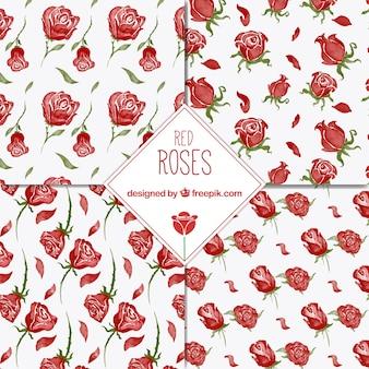 Vier patronen van rode rozen