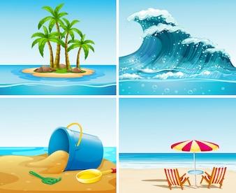 Vier scène van de oceaan in de zomertijd