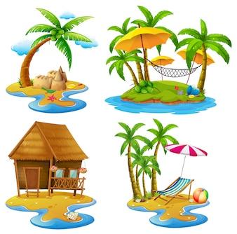 Vier scènes van eilanden en zee