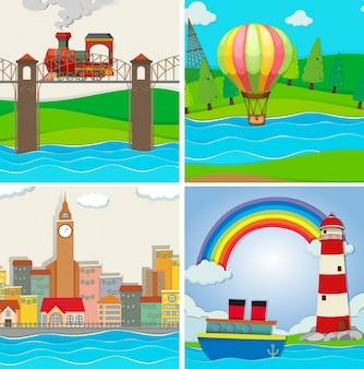 Vier scènes van stad en rivier