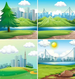 Vier scènes van steden en parken