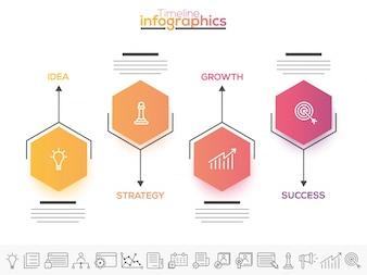Vier stappen, Timeline Infographics layout met pictogrammen, in zwart-wit en kleurrijke versies.