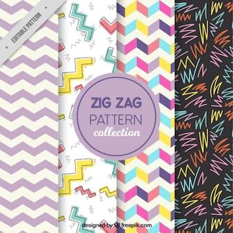 Vier zigzag patronen