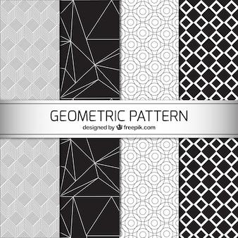 Vier zwarte en witte geometrische patronen