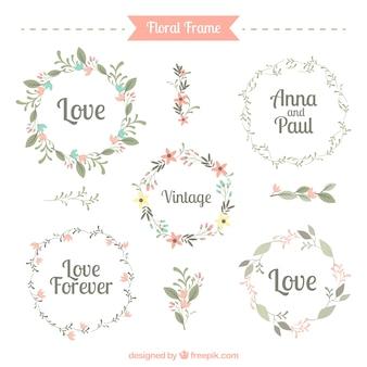 Vijf schattige bloemen frames