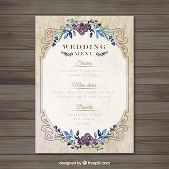 Vintag bruiloft menumalplaatje