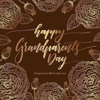 Vintage achtergrond van gelukkige grootoudersdag met gouden bloemen