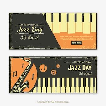 Vintage banners van muziekinstrumenten voor jazz