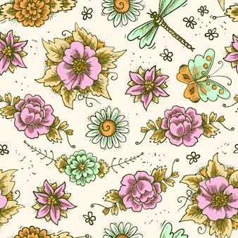 Vintage bloemenkleurig naadloos patroon