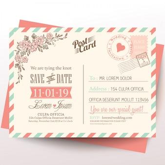 Vintage briefkaart achtergrond van de huwelijksuitnodiging