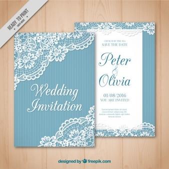Vintage bruiloft kaart met kant detail