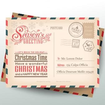Vintage Christmas brief kaart achtergrond