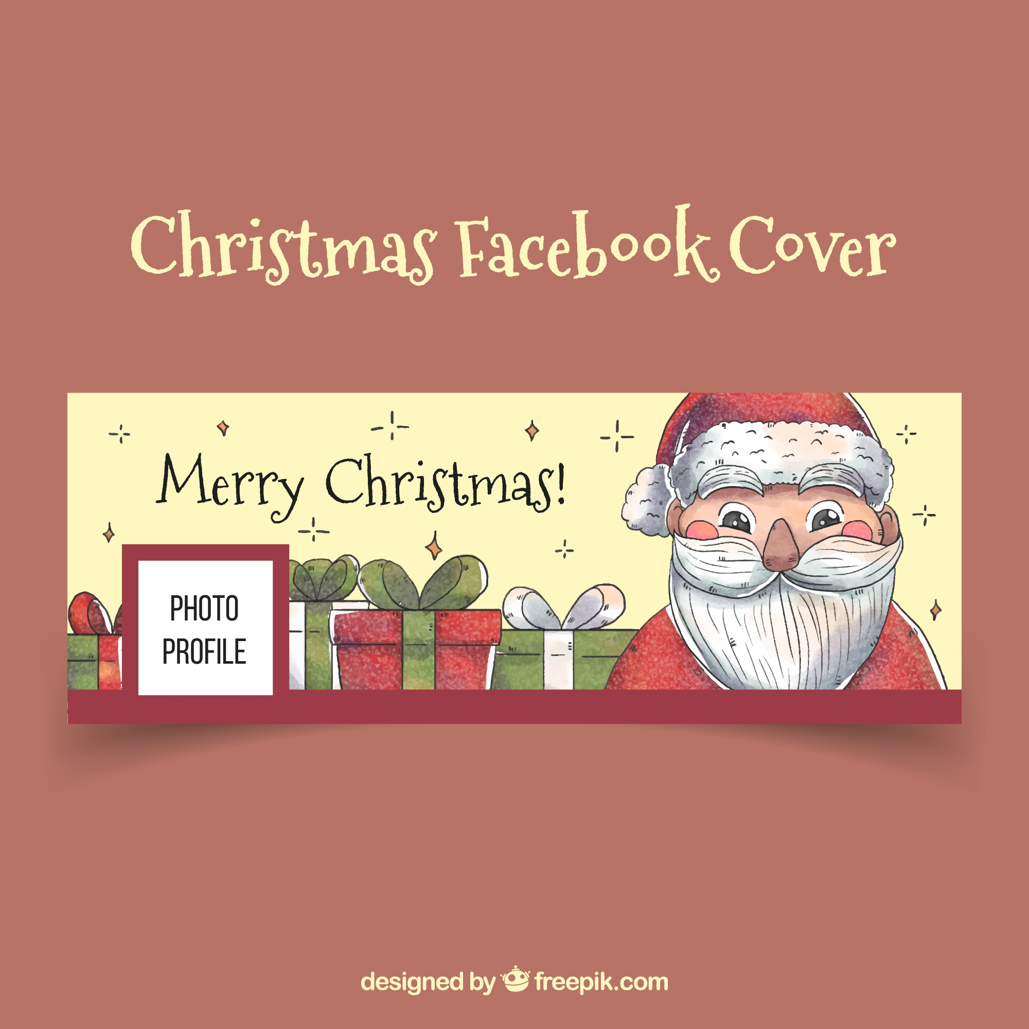 Vintage facebook cover met kerstman