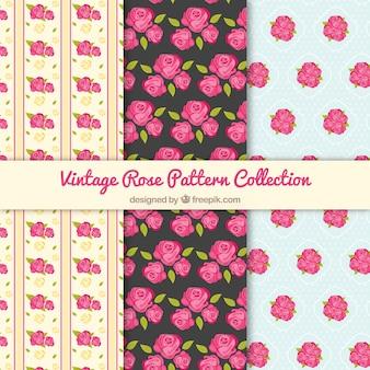 Vintage patronen met roze rozen