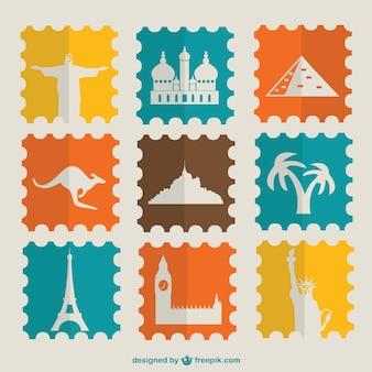 Vintage postzegels toeristische bezienswaardigheden ingesteld