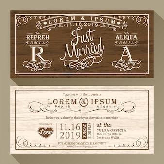 Vintage uitnodigingskaart van het huwelijk grens en frame design template