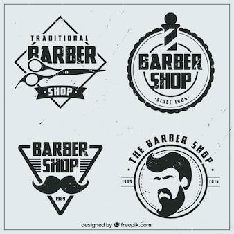Vintage vlakke kapperszaak logos