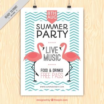 Vintage zomer poster feestje met flamingo's en zig-zag lijnen