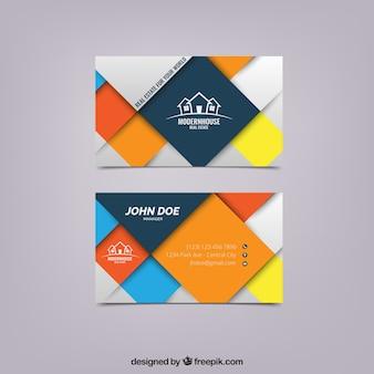 Visite kaartje met gekleurde vierkantjes