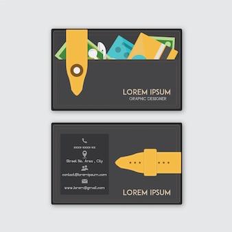 Visitekaartje met portemonnee ontwerp
