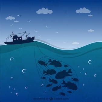 Vissersboot silhouet