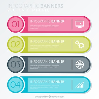 Vlak assortiment van vier gekleurde infografische banners