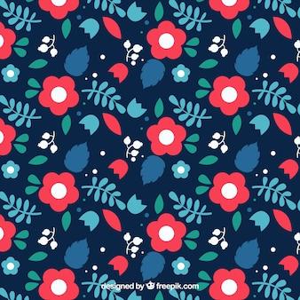 Vlak patroon met rode rozen in vlakke vormgeving