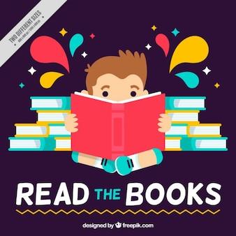 Vlakke achtergrond van de jongen het lezen van een boek