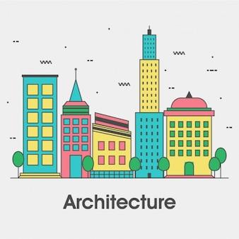 Vlakke achtergrond van de stad met kleurrijke gebouwen