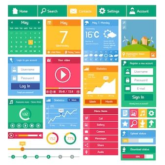 Vlakke gebruikersinterface ontwerp sjabloon internet en applicaties lay-out elementen vector illustratie
