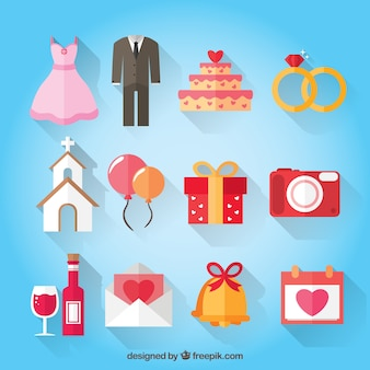Vlakke kleuren bruiloft accessoires