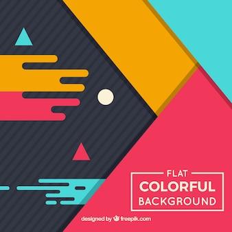 Vlakke ontwerp geometrische kleurrijke achtergrond