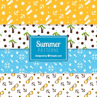 Vlakke set van decoratieve zomerpatronen