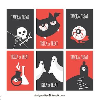 Vlakke set van moderne halloween kaarten