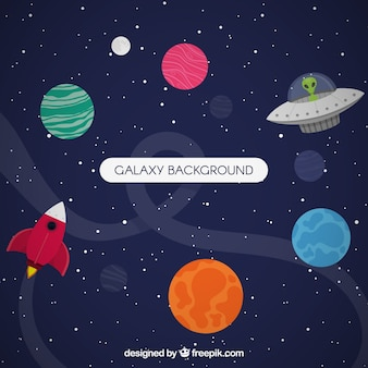 Vliegende schotelachtergrond en kleurrijke planeten in plat ontwerp