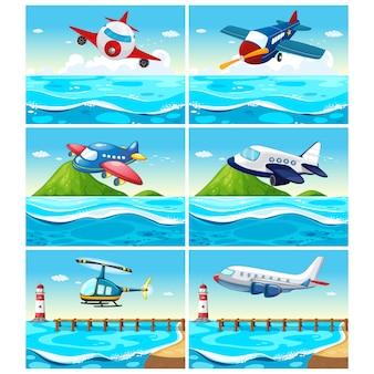 Vliegtuig achtergronden collectie