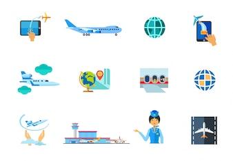 Vliegtuig pictogram set