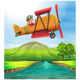 Vliegtuig vliegen boven een weiland