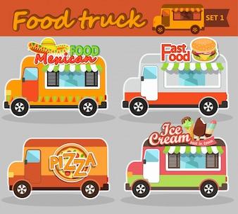 Voedsel truck vector illustraties.